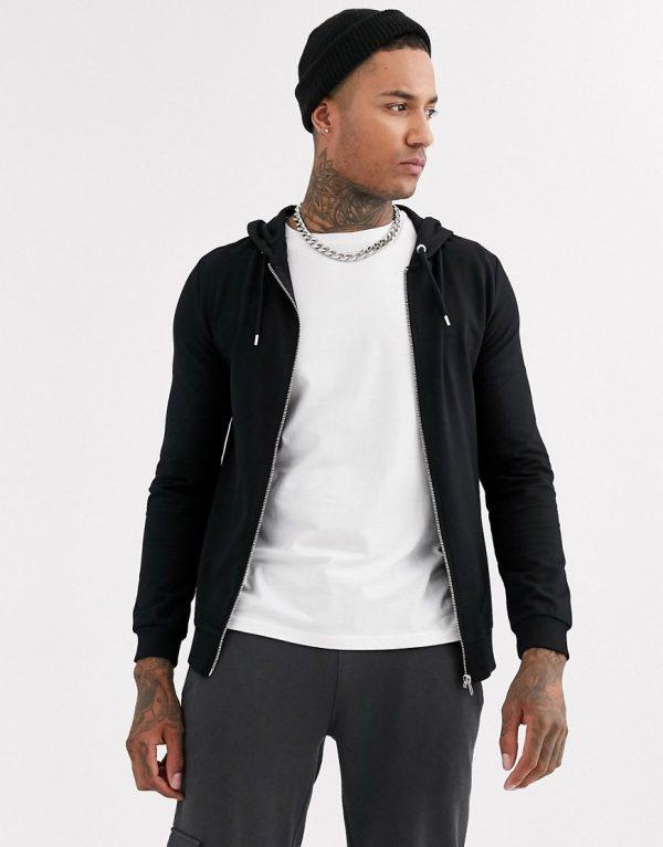 ASOS DESIGN muscle zip up hoodie in black