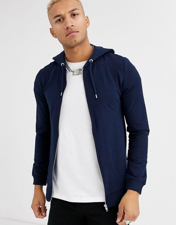 ASOS DESIGN muscle zip up hoodie in navy