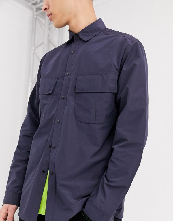 ASOS DESIGN nylon overshirt in navy with angled pockets