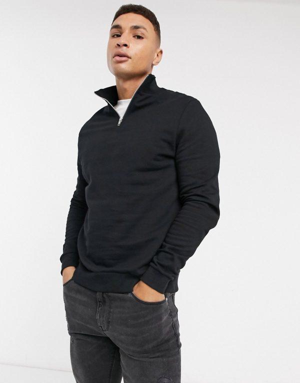 ASOS DESIGN organic half-zip sweatshirt in black