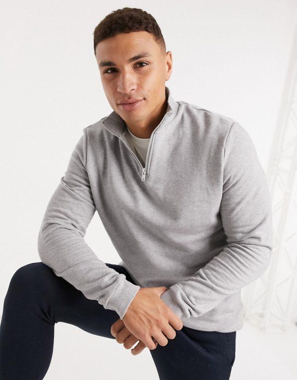 ASOS DESIGN organic half zip sweatshirt in gray marl