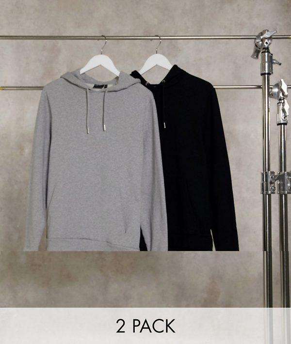 ASOS DESIGN organic hoodie 2-pack in black/gray marl-Multi