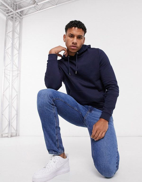 ASOS DESIGN organic hoodie in navy