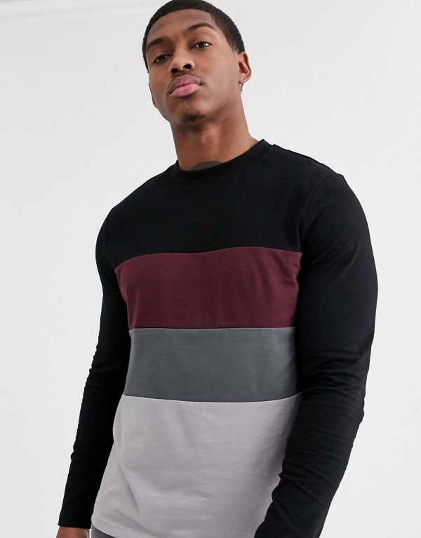 ASOS DESIGN organic long sleeve t-shirt with color block in black