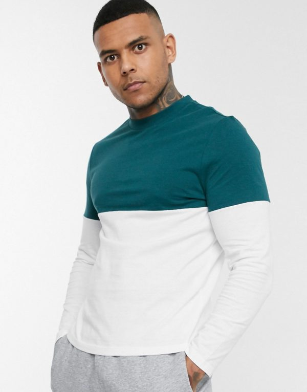 ASOS DESIGN organic long sleeve t-shirt with contrast yoke in white