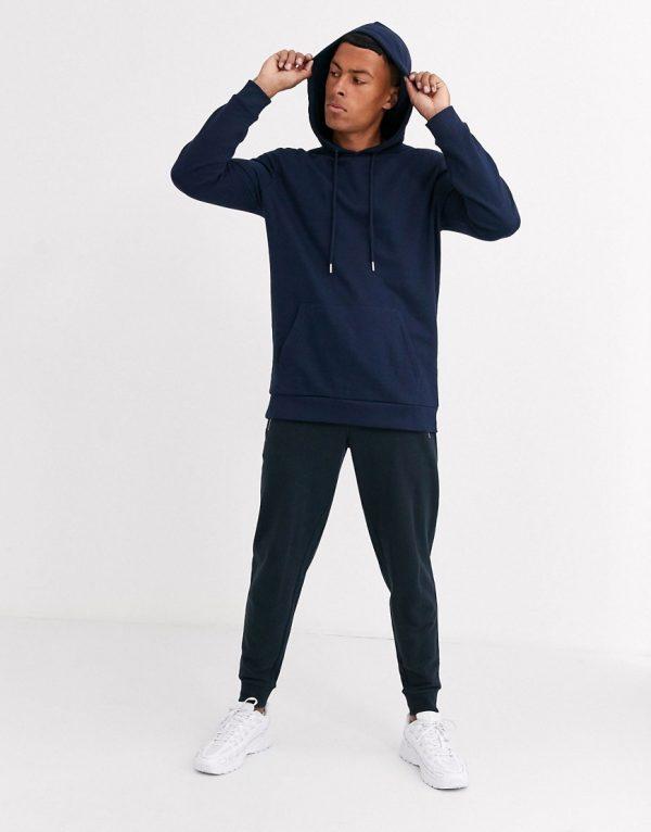ASOS DESIGN organic longer length hoodie in navy
