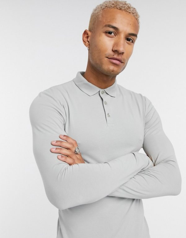 ASOS DESIGN organic muscle fit long sleeve jersey polo in gray