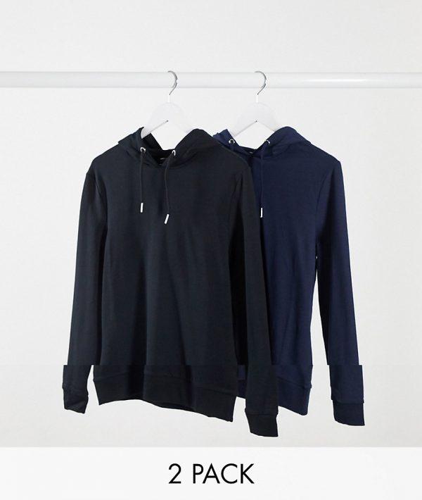 ASOS DESIGN organic muscle hoodie 2 pack black/navy-Multi