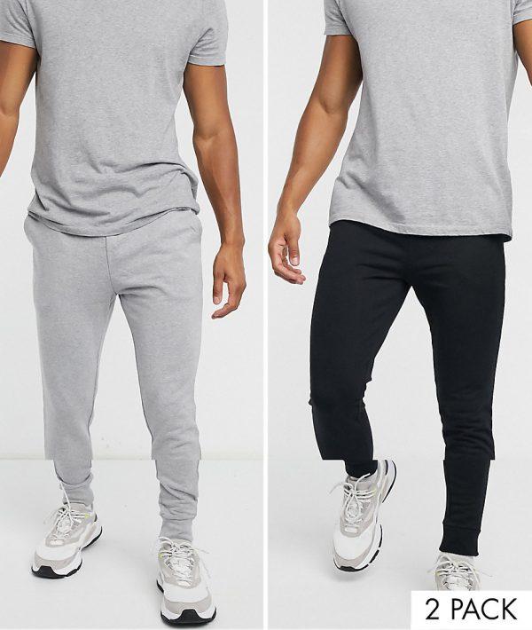 ASOS DESIGN organic skinny sweatpants 2 pack black/gray marl-Multi