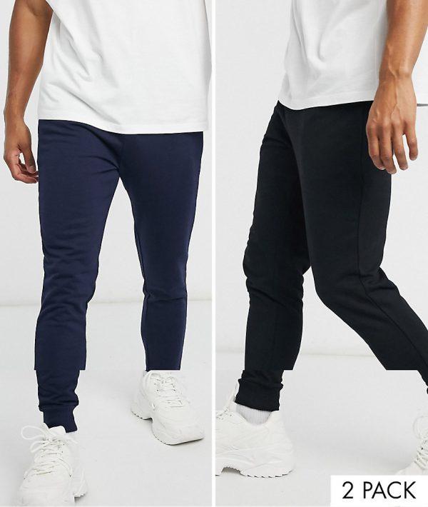 ASOS DESIGN organic skinny sweatpants 2 pack black/navy-Multi