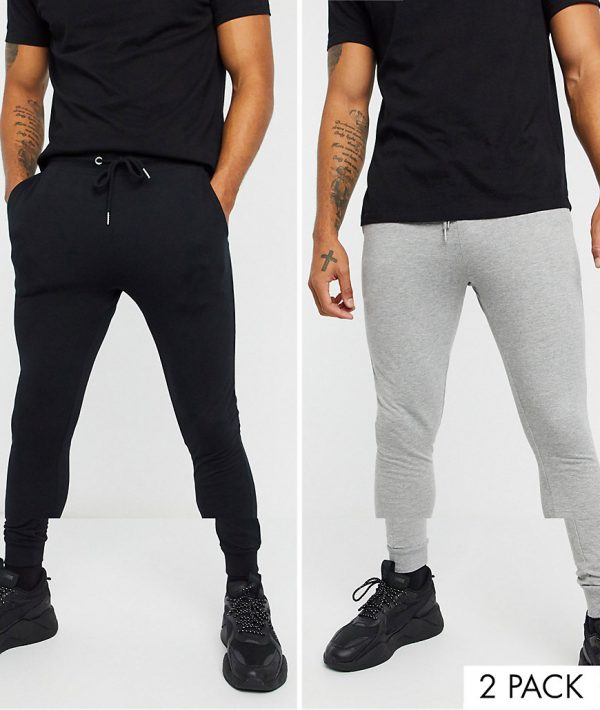 ASOS DESIGN organic super skinny sweatpants 2 pack black/gray marl-Multi