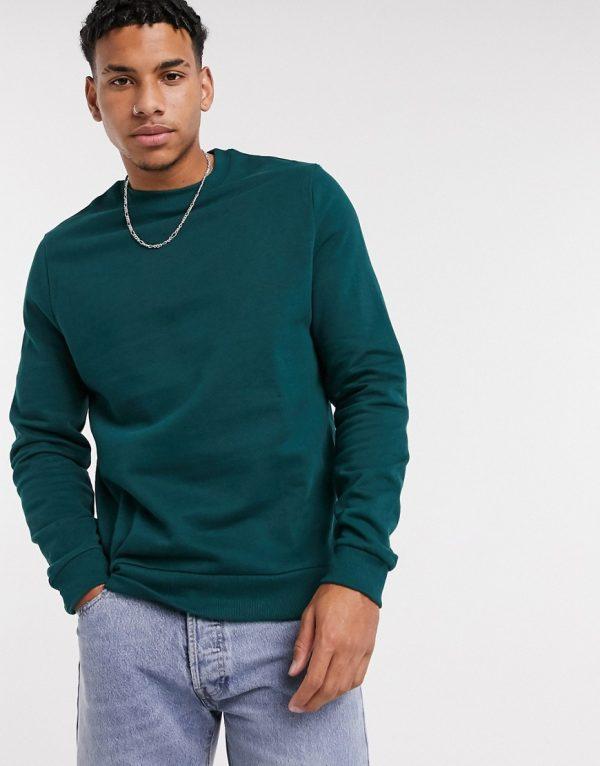 ASOS DESIGN organic sweatshirt in dark green