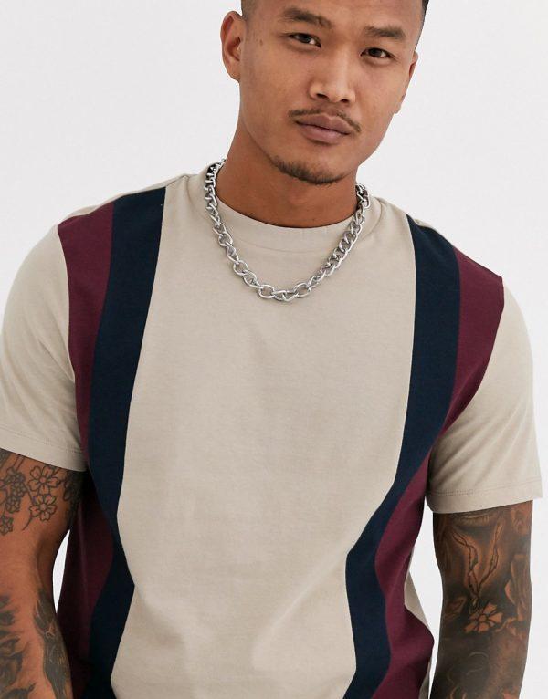 ASOS DESIGN organic t-shirt with vertical color block in beige