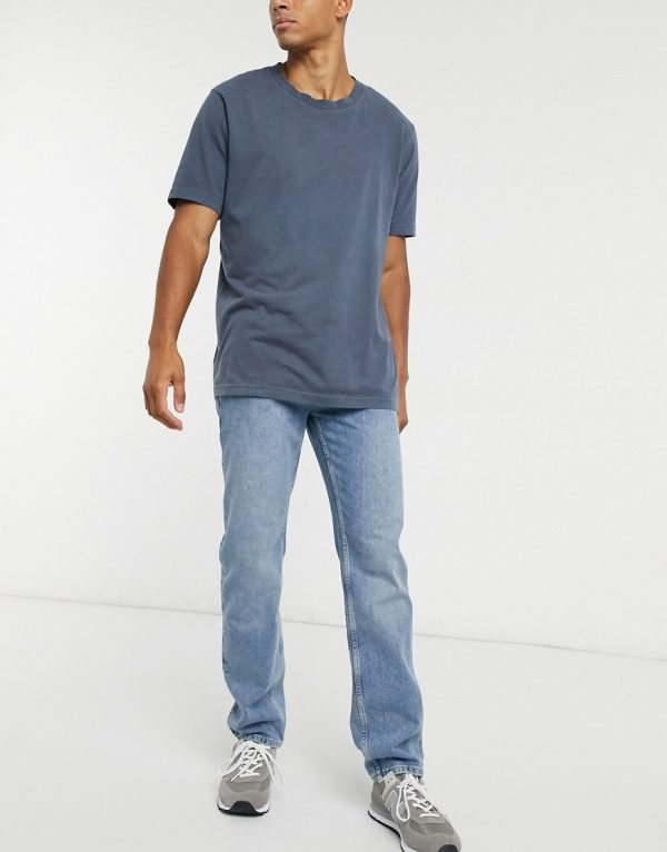 ASOS DESIGN original fit jeans in mid dirty stone wash blue