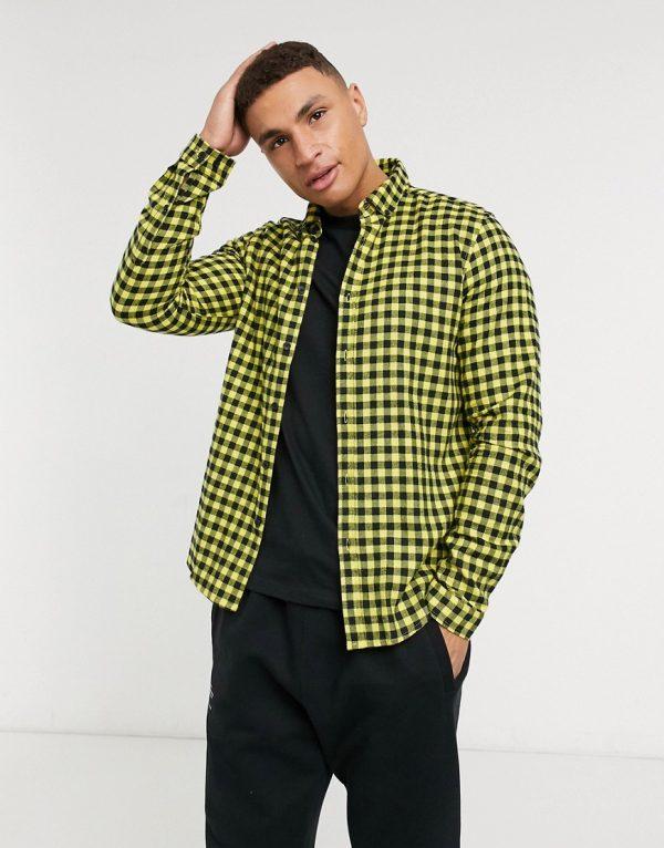 ASOS DESIGN overshirt in yellow and black gingham