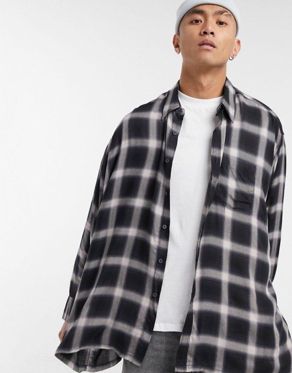 ASOS DESIGN oversize wide standard collar shirt in shadow check-Black