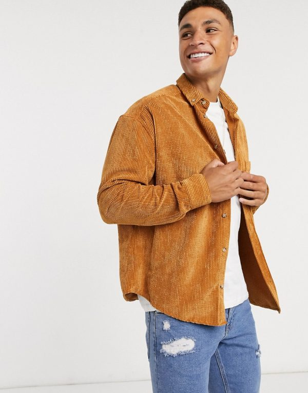 ASOS DESIGN oversized 90s style cord shirt in mustard-Yellow
