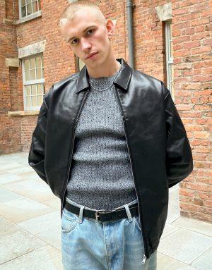 ASOS DESIGN oversized Harrington jacket in faux leather in black