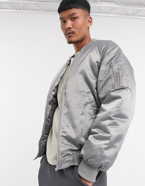ASOS DESIGN oversized bomber jacket with MA1 pocket in hi-shine gray