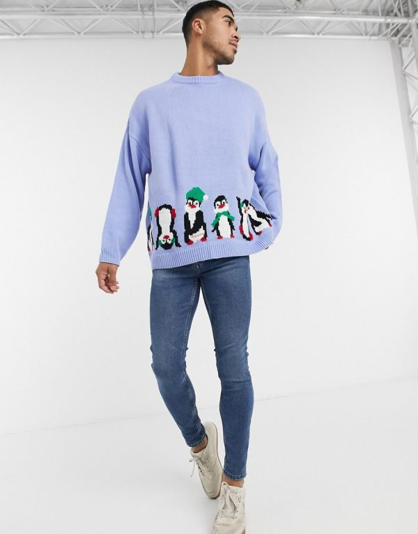 ASOS DESIGN oversized christmas sweater with front and back penguin design-Blue
