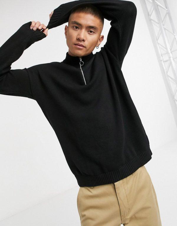 ASOS DESIGN oversized cotton half zip knitted sweater in black