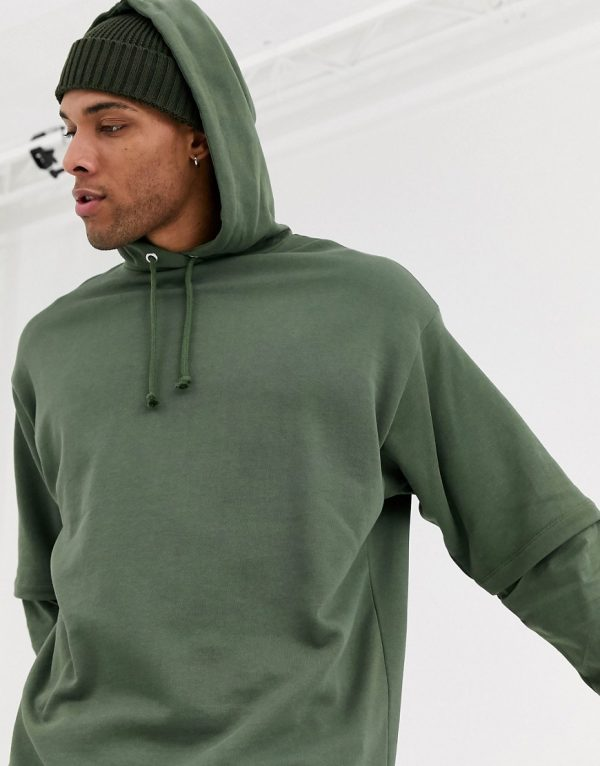 ASOS DESIGN oversized double layer hoodie with muscle fit underlay-Green