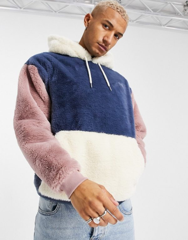 ASOS DESIGN oversized faux-fur colorblock hoodie in blue, pink, and cream-Multi
