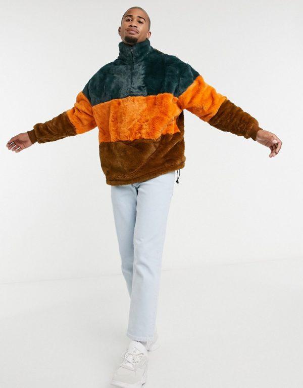 ASOS DESIGN oversized faux fur sweatshirt with high neck & color blocking-Multi