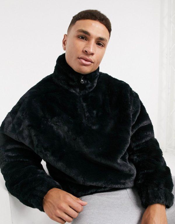 ASOS DESIGN oversized faux fur sweatshirt with high neck & half zip in black
