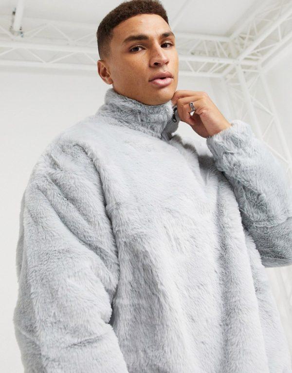 ASOS DESIGN oversized faux fur sweatshirt with high neck & half zip in gray