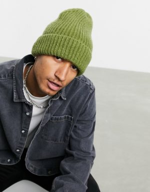 ASOS DESIGN oversized fisherman beanie in khaki with rib detail-Green