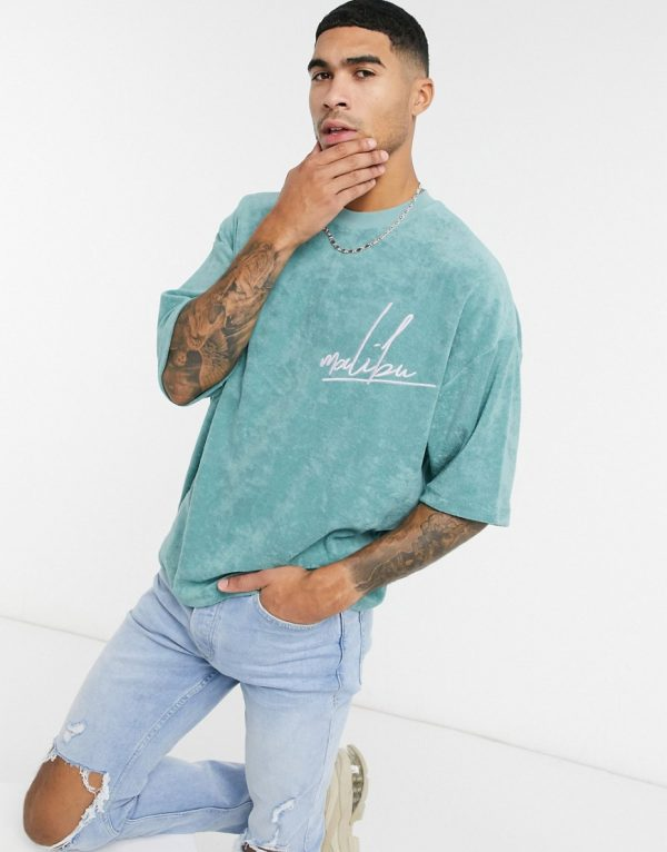 ASOS DESIGN oversized graphic textured towelling t-shirt in mineral blue