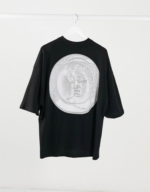 ASOS DESIGN oversized heavyweight jersey t-shirt with back coin print in black