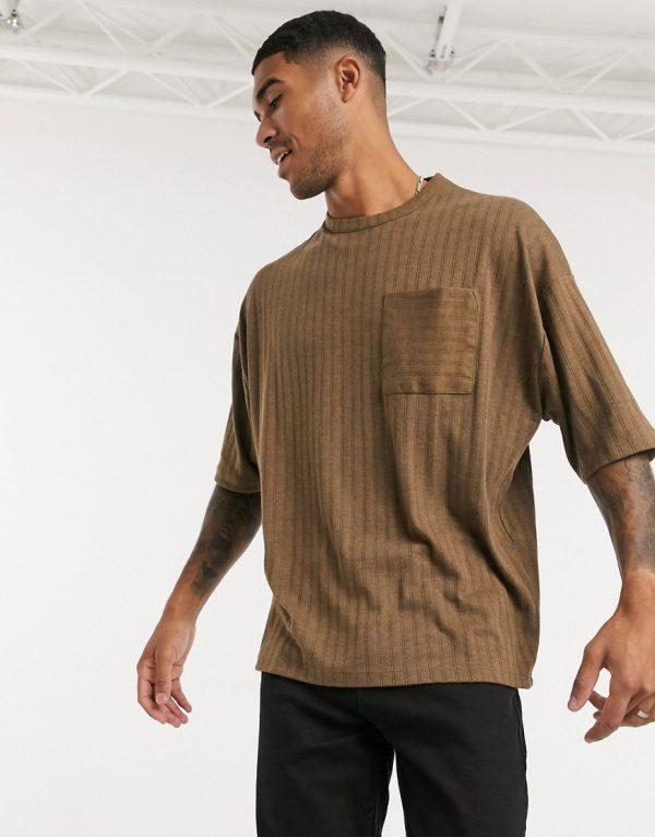 ASOS DESIGN oversized heavyweight rib t-shirt in brown