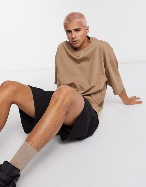 ASOS DESIGN oversized heayweight t-shirt with half sleeve and chunky neck in tan-Beige