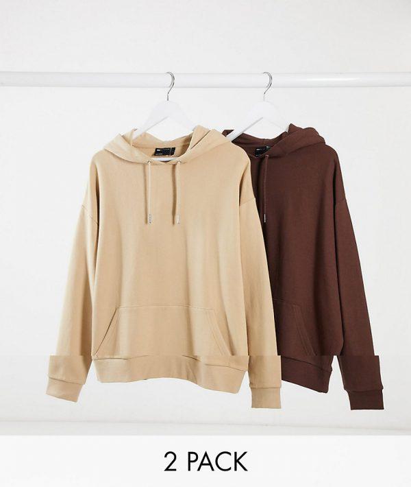ASOS DESIGN oversized hoodie 2 pack beige / brown-Multi