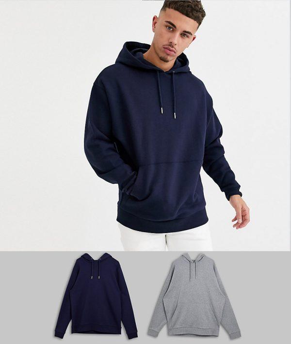 ASOS DESIGN oversized hoodie 2 pack navy / gray marl-Multi