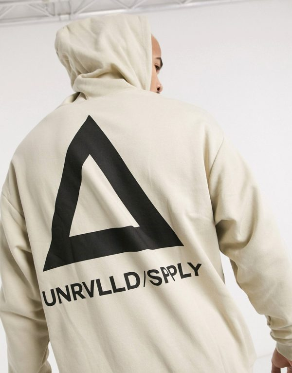 ASOS DESIGN oversized hoodie in beige with triangle back print