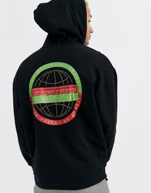 ASOS DESIGN oversized hoodie in black with hotfix jewel back print