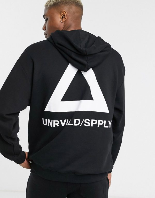 ASOS DESIGN oversized hoodie in black with triangle back print