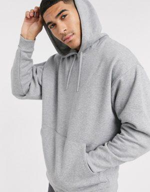ASOS DESIGN oversized hoodie in gray marl