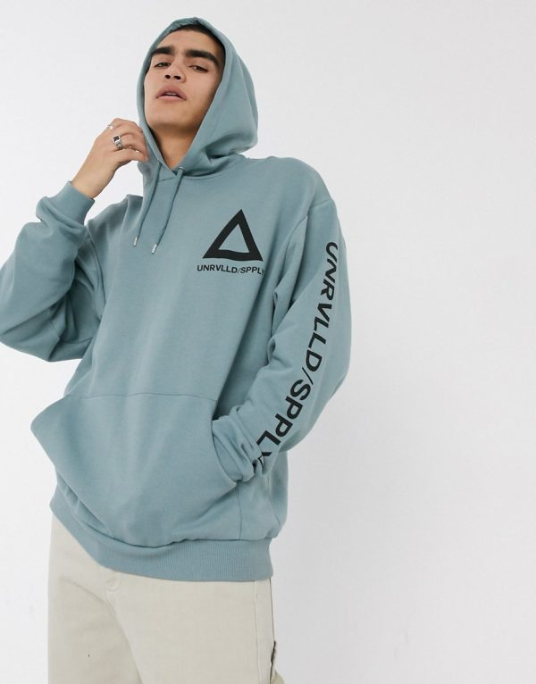 ASOS DESIGN oversized hoodie in pale blue with multi placement print-Gray