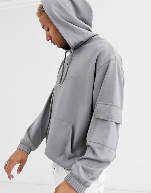 ASOS DESIGN oversized hoodie in scuba fabric-Gray