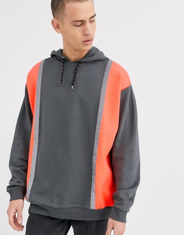 ASOS DESIGN oversized hoodie with color block neon panels-Multi