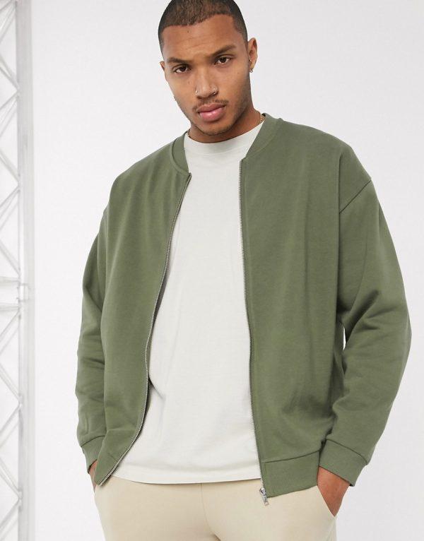 ASOS DESIGN oversized jersey bomber jacket in khaki-Green