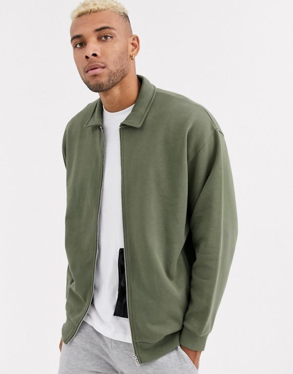 ASOS DESIGN oversized jersey harrington jacket in khaki-Green