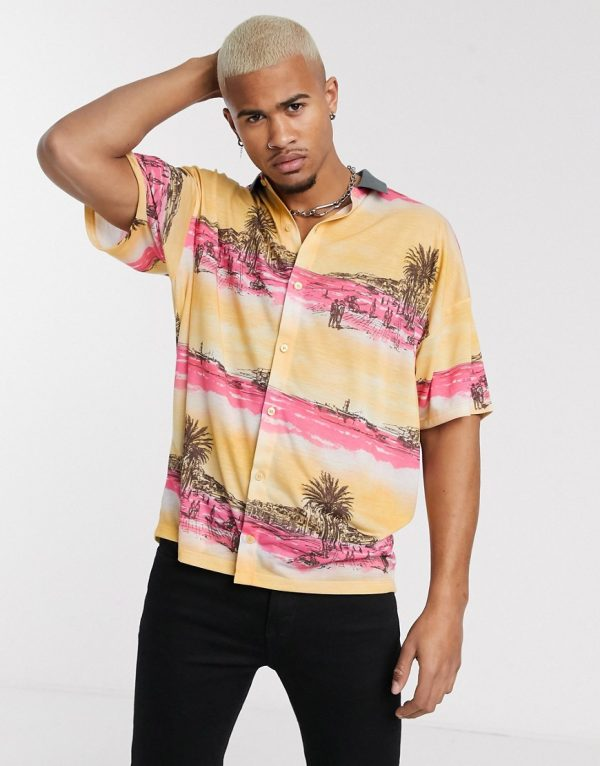 ASOS DESIGN oversized jersey shirt with all over print-Multi