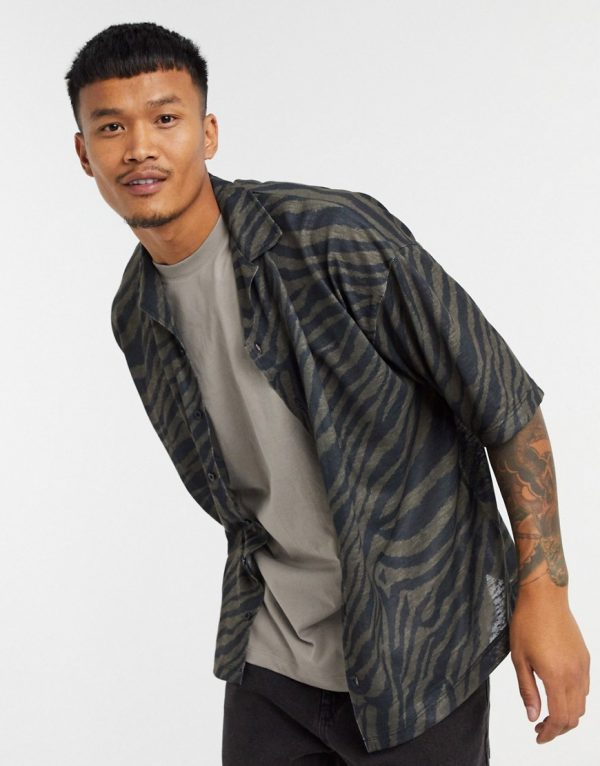 ASOS DESIGN oversized jersey shirt with all over zebra print in linen look-Multi
