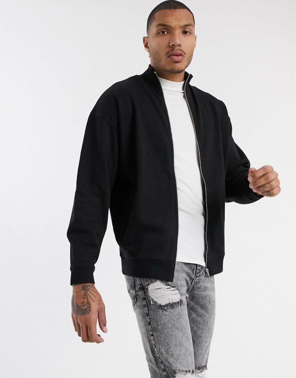 ASOS DESIGN oversized jersey track jacket in black-Navy