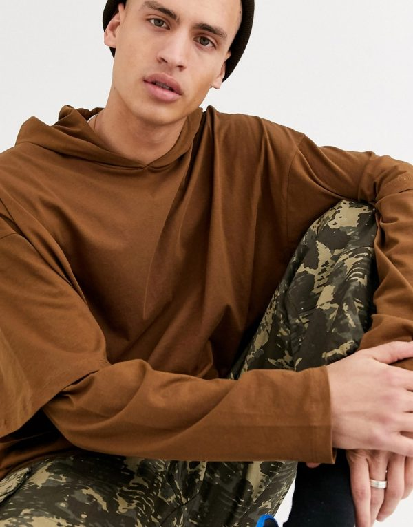 ASOS DESIGN oversized long sleeve lightweight hoodie with double layer sleeve in brown